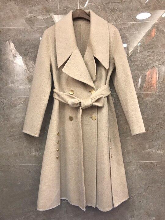 Pur Dentelle Longues Hiver kaki Court Automne Taille Cachemire En Manteau Coat1030 Manches Ardoisé Revers orange 2018 IUXqwC