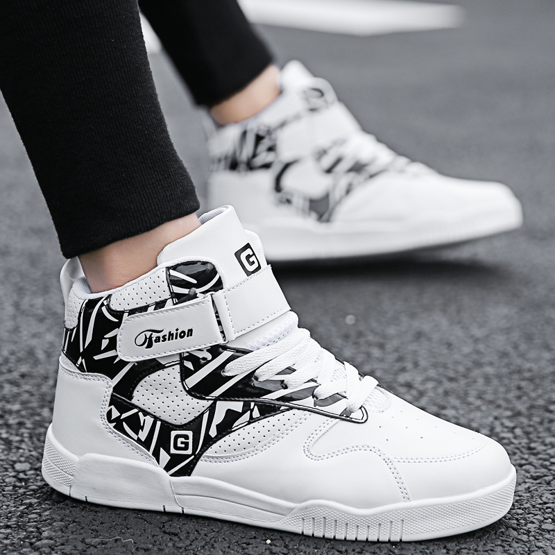 2019 Mens Walking Shoes High Top Height Increasing Running Sport Sneakers Strap Athletics Male Boot White Black Brand Shoe
