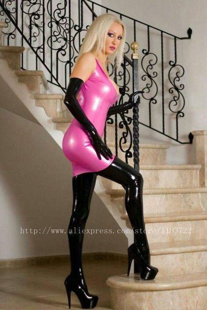 latex Girls dress tight in