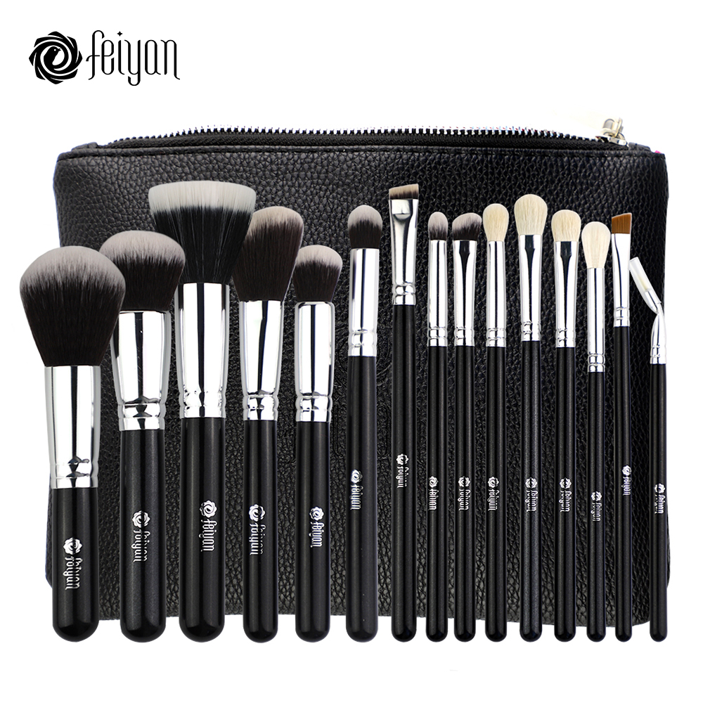 FEIYAN 15pcs Professional Makeup Brushes Set Natural Goat Hair with PU Pouch Eyeshadow Powder Foundation Blush Lip Cosmetic Kit