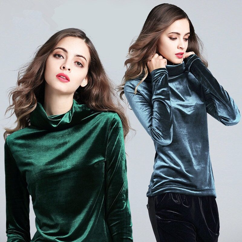 Fall Winter Casual Women Turtleneck <font><b>Wine</b></font> <font><b>Red</b></font> Grey Green Long Sleeve Velour Elegant Tee <font><b>Shirt</b></font> , Woman 3xl Slim Velvet Tees <font><b>Shirts</b></font> image