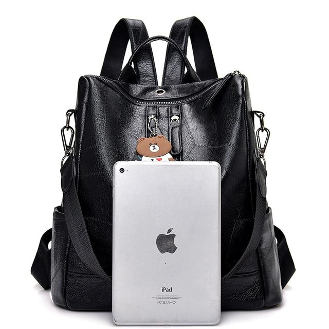2019 Fashion Women Backpack High Quality Youth Leather Backpacks for Teenage Girls Female School Shoulder Bag Bagpack mochila 3