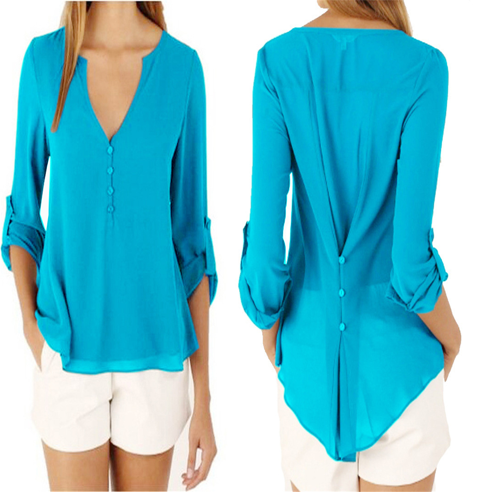 Plus Size M-5XL V-neck Chiffon Blouse Womens Tops Fashion 2018 Women Summer Loose Long Sleeves Solid Color Office Tulle Shirt 5