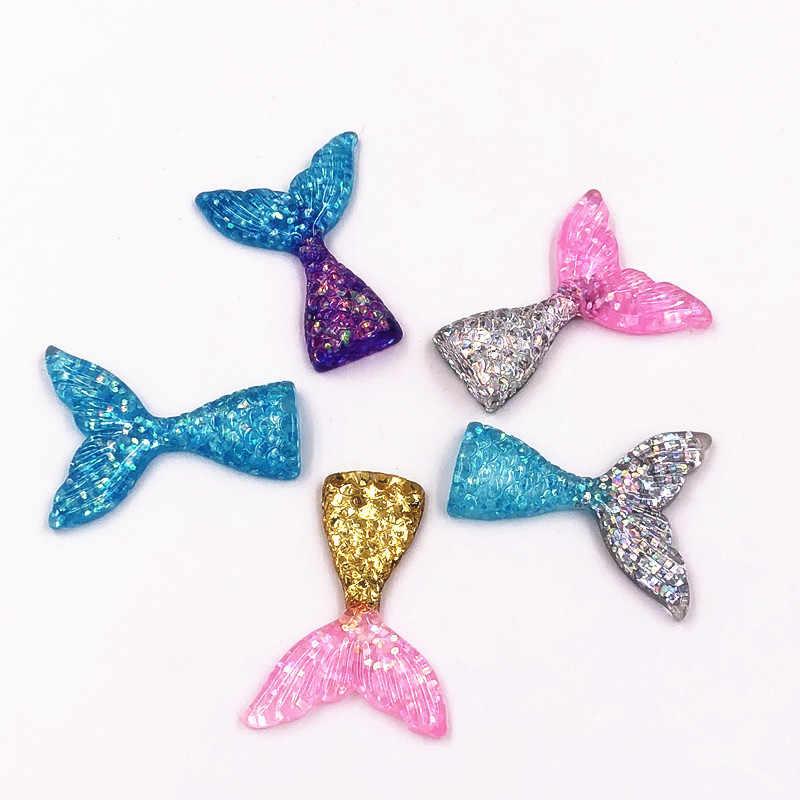 1 Pcs เรซิ่น Mermaid Tail ตกแต่งหัตถกรรม Flatback Cabochon Kawaii DIY Embellishments สำหรับอุปกรณ์เสริม Scrapbooking Charms