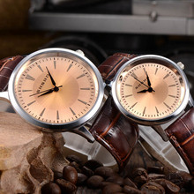 Hot Sell Unisex Lover Watch Couple Watches PU Leather Simple Style Round Dial Quartz Wrist Watches Digital Wristwatches PT