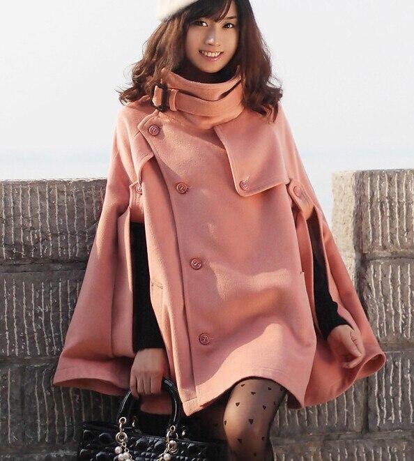 Осень Зима Большой размер женское кашемировое пальто стоячий воротник шерстяное пальто-накидка толстое шерстяное пальто