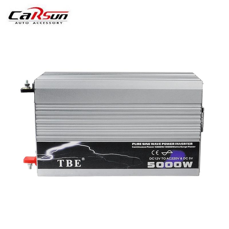 цена на TBE 5000 Watt DC 12V To AC 220V Pure Sine Wave 5KW Power Inverter Use In Car/ Truck/ Boat/ Night Market