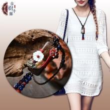 Винтажное Макси деревянное геометрическое ожерелье с подвеской для женщин в виде ракушки цветок камень веревка цепь мода ручной работы femme антикварные ювелирные изделия