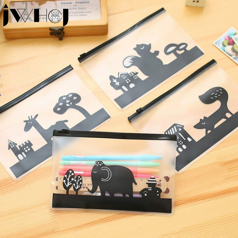1 Pcs Women Portable Lovely PVC Frosted Multifunction Zipper Document Envelope Cosmetic Bag Data Case School Supplies Stationery