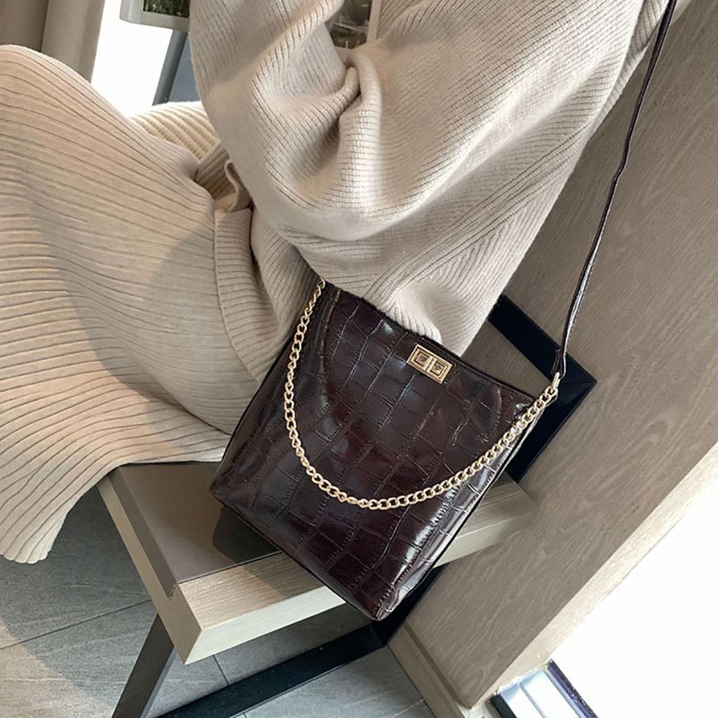 2019 Frauen Stein Muster Schulter Tasche Vielseitig Umhängetasche Mode Eimer Tasche Große Kette Kapazität Handtasche Bolso Mujer