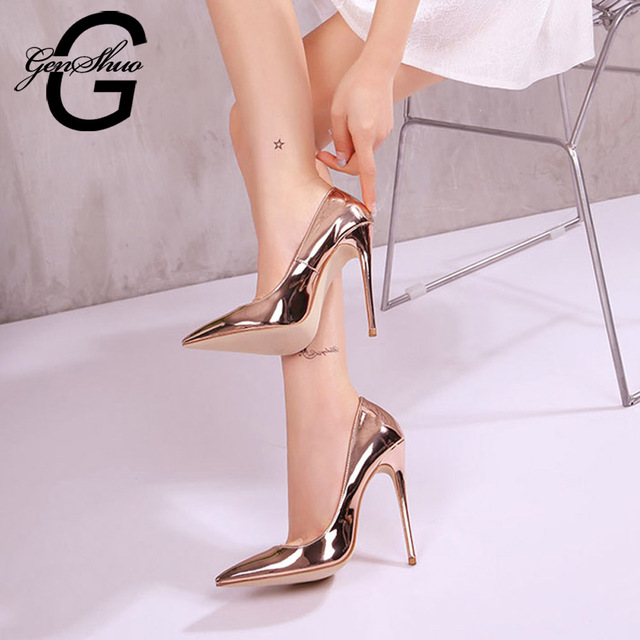 GENSHUO Women High Heels Shoes Rose Gold Pointed Toe High Heeled Shoes for  Women Party Prom Wedding Pointy Toe Sexy Pumps 76f320520f
