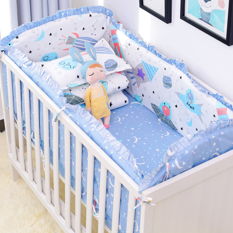 6pcs/set Blue Universe Design Crib Bedding Set Cotton Toddler Baby Bed Linens Include Baby Cot Bumpers Bed Sheet Pillowcase 5pcs set cute crown thick cot protector bumpers luxury baby bedding set cotton crib linens include around bed bumpers bed sheet