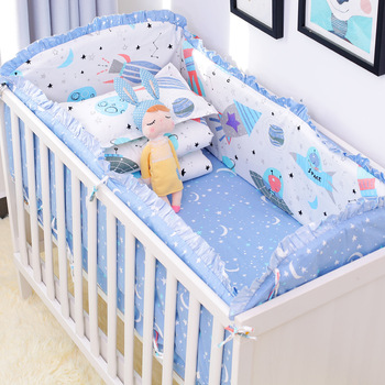 6pcs/set Blue Universe Design Crib Bedding Set Cotton Toddler Baby Bed Linens Include Baby Cot Bumpers Bed Sheet Pillowcase 5pcs cotton baby cot bedding set newborn cartoon baby crib bedding set detachable cot bed linen 4 bed bumpers 1 sheet 7 sizes