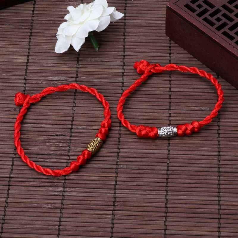 Handmade chiński feng shui szczęście kabała czerwony sznurek bransoletki biżuteria tybetańska