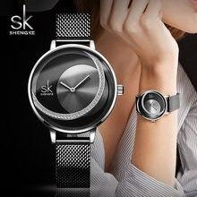 Shengke relógio de pulso de cristal feminino, relógio de quartzo para mulheres vestimentas de marca 2019 sk de aço inoxidável zegarek damski