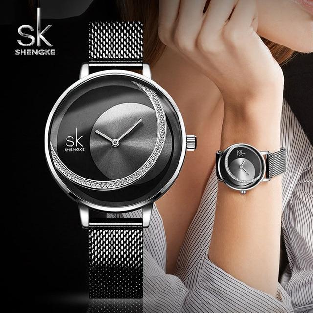 Женские кварцевые часы со стразами Shengke