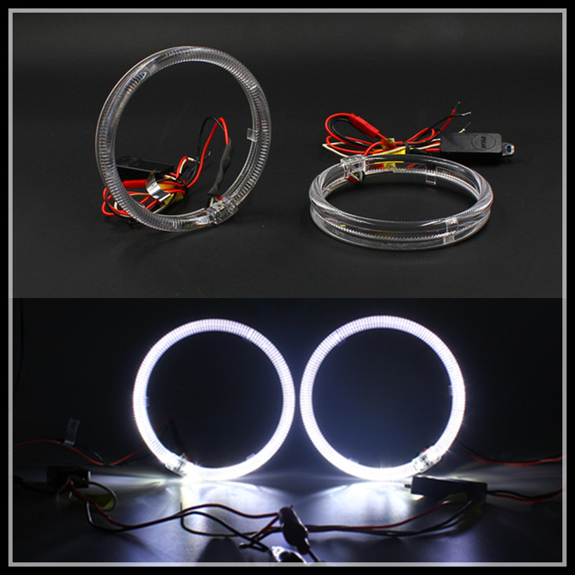 FSYLX 85m 95mm 110mm 115mm 125mm Crystal LED DRL Headlight Halo Rings Motorcycle Car white SMD LED Angel Eyes halo rings цена