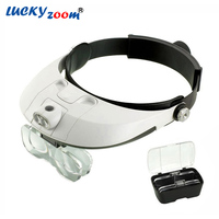 Headband 1X 1.5X 2X 2.5X 3.5X LED Magnifier Illuminated Lamps Multiple Magnifying Glass Hat Type Working Loupe Free Shipping