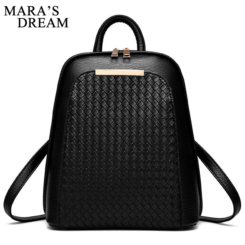 Maras Dream Women PU Leather Backpack Knitting Backpack Bags For Teenage Girls School Shoulder Bags Fashion Rucksack Mochila Maras Dream Women PU Leather Backpack Knitting Backpack Bags For Teenage Girls School Shoulder Bags Fashion Rucksack Mochila