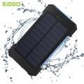 SAGO2016 Водонепроницаемый Солнечной Банк силы 20000 мАч Dual USB Portable Солнечное Зарядное устройство со СВЕТОДИОДНОЙ Подсветкой и Компас для Универсального телефон