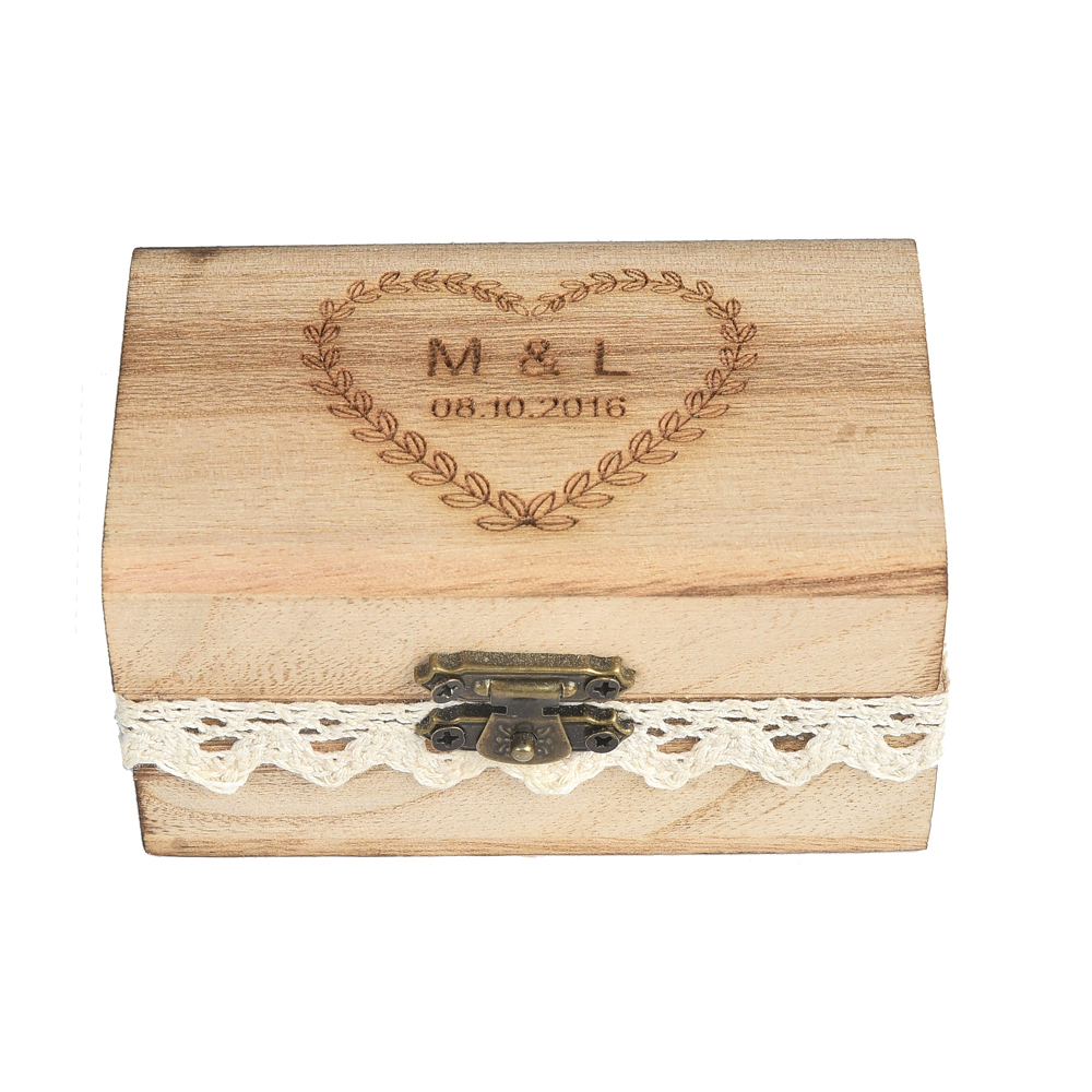 Personalized Engraved Gift Rustic Wedding Ring Ring Bearer Box Wooden Custom Nama Dan Tarikh Anda