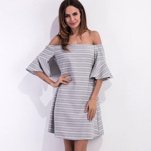 f00263a7c2 2017 New Summer Sexy Off Shoulder Club Factory Dresses Cheap Big Size Robe  Femme Stripe Tube Top Halter Speaker Sleeves Sukienka
