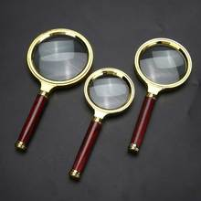 Portable 10X Magnifying Glass 60mm 70mm 80mm 90mm Retro Mahogany Handle Magnifier High Definition