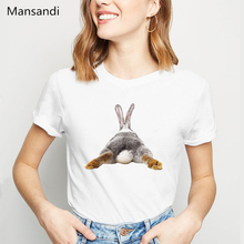 2019 Cute Rabbit Chubby Butt animal printed tshirt women vogue funny femme summer tops harajuku shirt female t-shirt