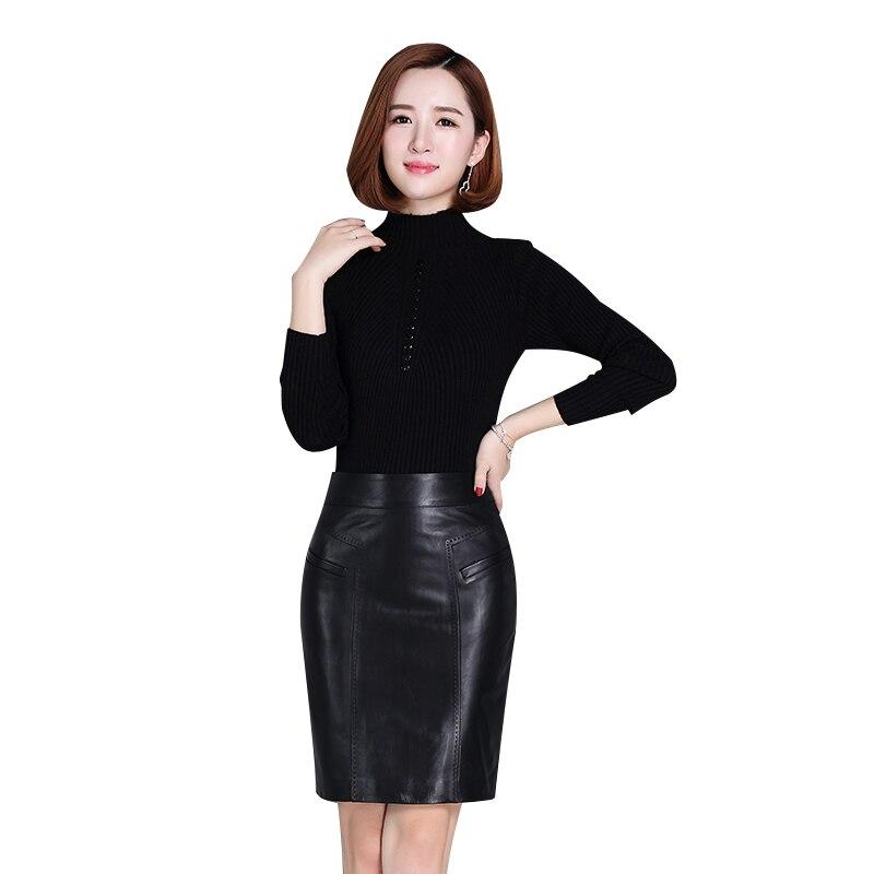 Ultimate Sale√Women Skirts Faldas Pencil Jupe Wrap High-Waist Femme Genuine-Leather New-Arrival Streetwear£