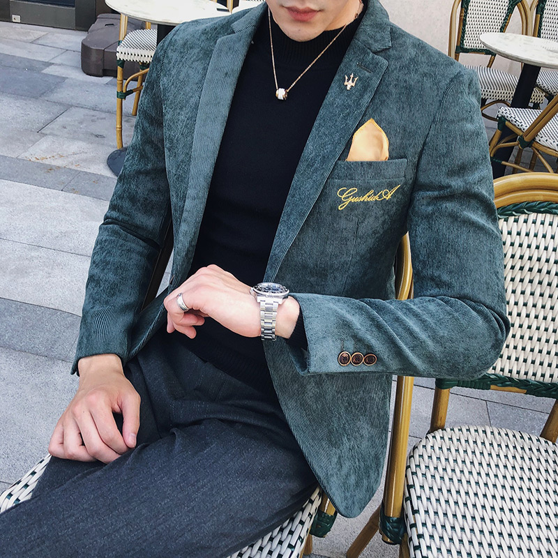Corduroy Blazer Men Slim Fit Green Khaki Grey 2019 Male Blazer Suit Jacket Gold Embroidery Terno Masculino Korean Men Blazer