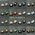 Natural Mixed Gems Stones Prism Nugget Hexagonal Pointed Healing Reiki Chakra Sliver Gold Earrings Pendant Beads 10Pcs/Pack