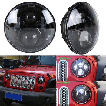 "50w 7"" Led Headlights Round Hi/lo Beam Motorcycle Headlamp for Harley Hummer H1 H2 2Pcs"