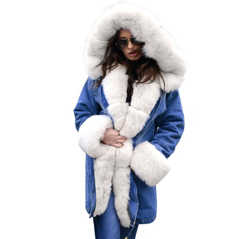 À White Femelle Veste A2375 Femmes Taille Parkas Tops Coton dark Capuchon Col Longs Plus Manteau Grand Fourrure Manteaux Denim La brown Chaud Épaisse Doublure De D'hiver Gray gf6H5WHPB