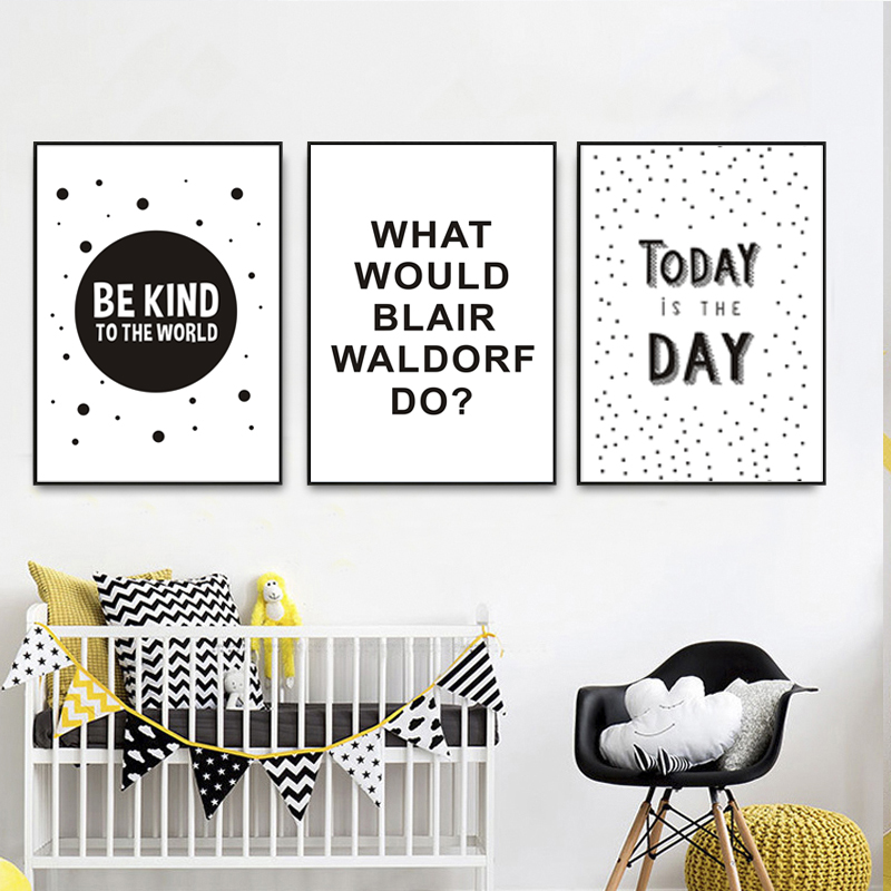 Us 3 49 50 Off Be Kind To The World Black And White Nursery Art Decor Canvas Paintings Poster Print Pop Wall Pictures Kids Room Home In