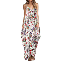 2017 Bohemian Summer Floral Print Long Dress Women Sexy V Neck Strap Backless Beach Maxi Dresses