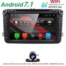 4G 2din android 7.1 car dvd for vw passat b6 golf 4 5 tiguan polo skoda octavia 2 with steering wheel controlcar radio gps wifi