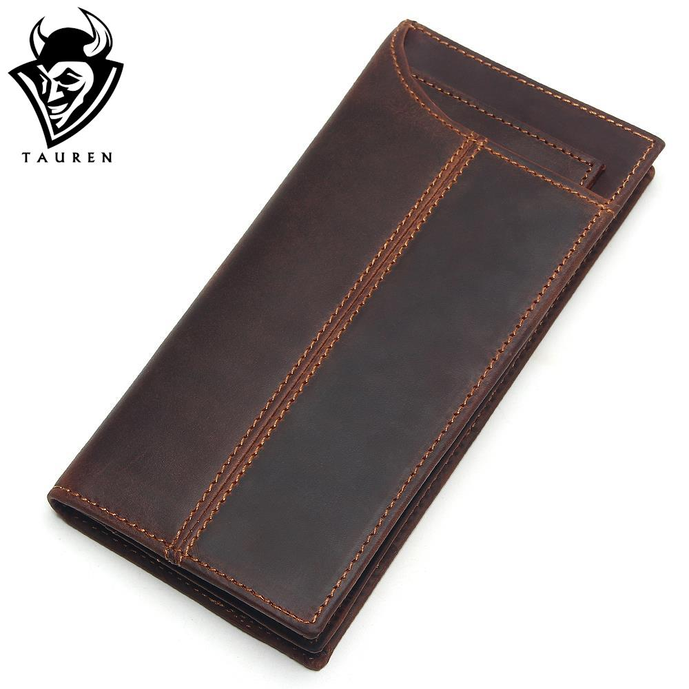 Removable Card Holder Genuine Crazy Horse Cowhide Leather Men Long Wallet Purse Card Holders Vintage Wallet Brand Designer Purse crazy horse leather men wallet slim vintage genuine leather long purse cowhide bifold wallets with coin pocket and card holders