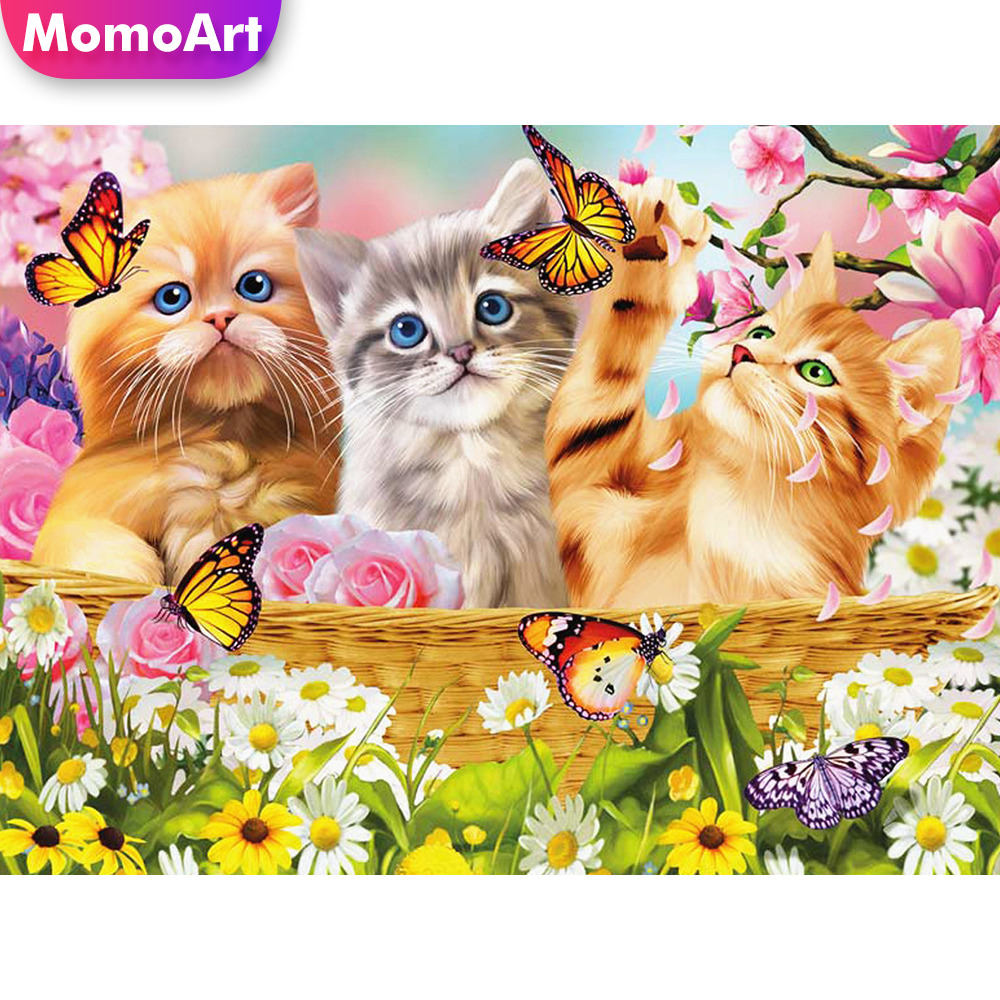 MomoArt 5D Diamond Painting Cat Embridery Full Square Rhinestone Mosaic Butterfly Art
