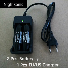 Original Nightkonic 2 pcs NCR 18650 Battery 3.7V MHLi-ion Rechargeable Battery Black flat top + 1 pcs eu / us 2 slot charger