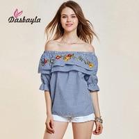 Dasbayla T Shirt Women Butterfly Sleeve2018 Spring Ruffle Polka Dot Slash Neck Ruffles Half Sleeve Fashion