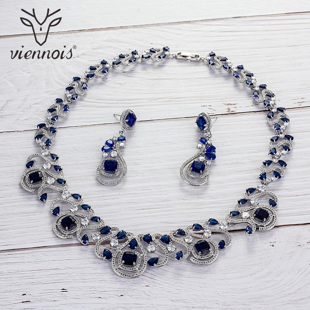 Viennois vert/bleu/blanc/rouge couleur cubique zircone Dangle boucles d'oreilles collier ensemble pour femmes mariage bijoux ensemble 2019
