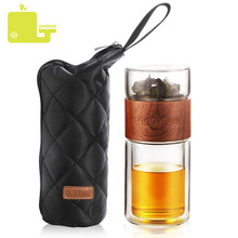 ONEISALL 200ml szklana butelka wody z torbą wysoka borokrzemianowa podwójna butelka na herbatę Infuser Tumbler Drinkware inteligentne butelki