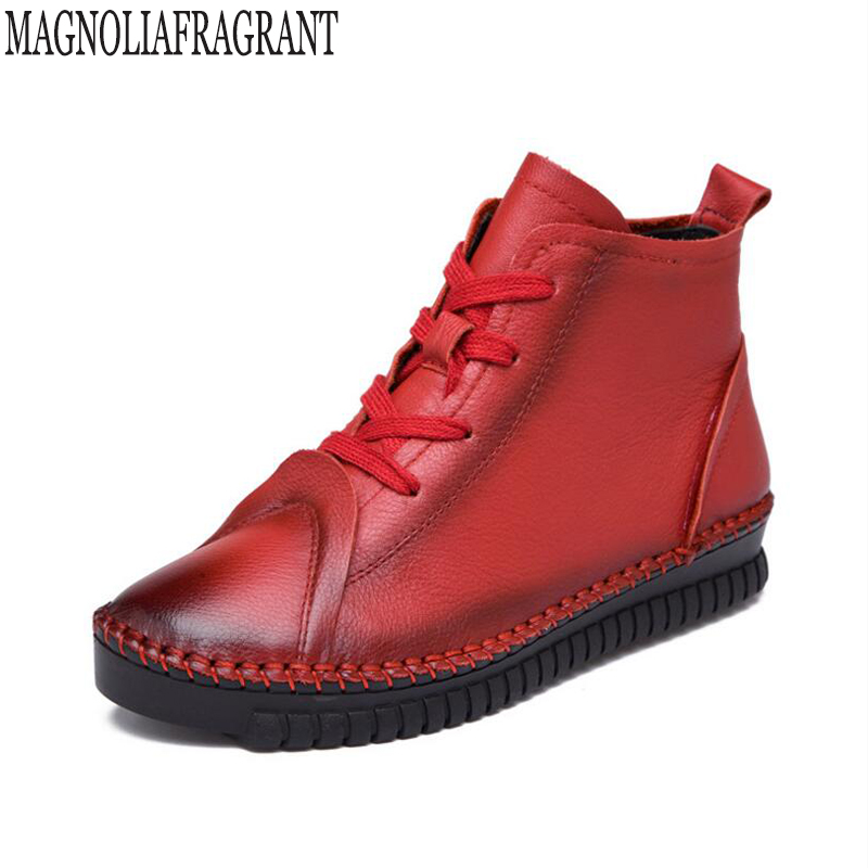 Retro Flats Ankle Women's Boots Shoes Woman Female Fashion Handmade Genuine Leather Rubber Soles Casual botas mujer k477 2017 new autumn winter british retro men shoes zipper leather breathable sneaker fashion boots men casual shoes handmade