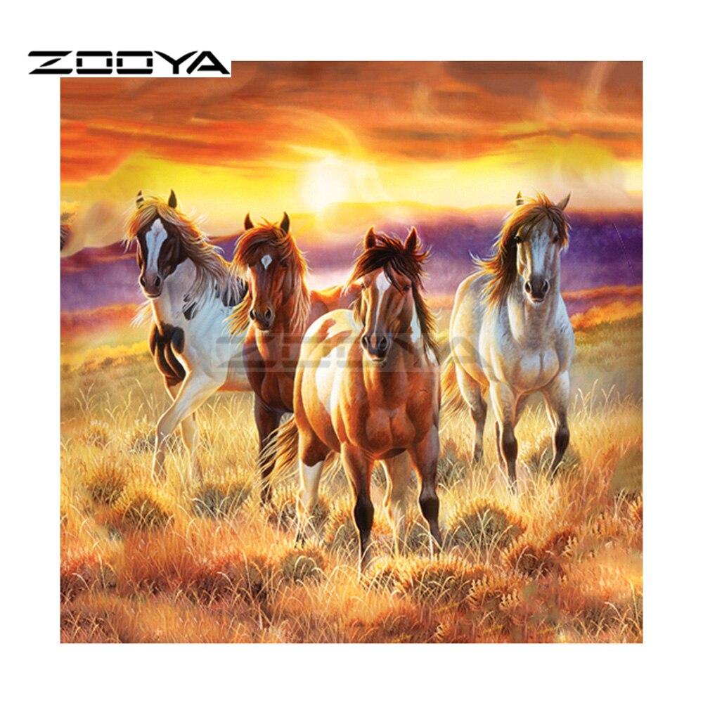 ZOOYA 5D DIY Diamond Embroidery Run Horse Sunset Grassland Diamond Painting Cross Stitch Square Drill Mosaic Decoration BK360