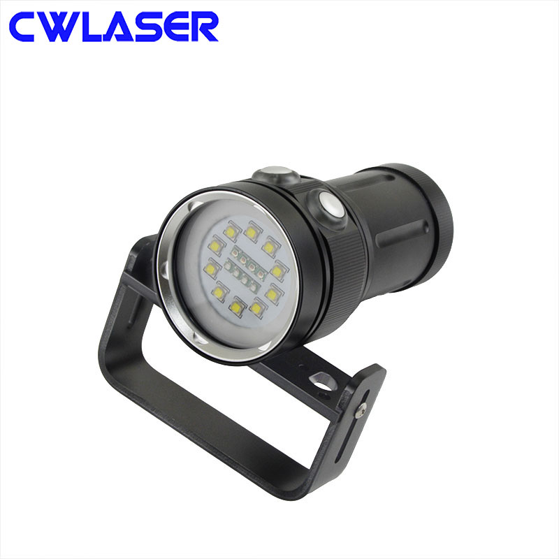 CWLASER CREE XM-L2 5000LM 6 Modes Diving Flashlight White / Red / Blue LED Flashlight (4*18650 Batteries) (Black) creative car model style led white flashlight keychain w sound red black