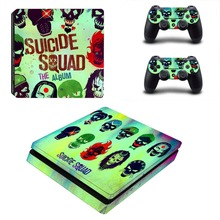 Suicide Squad Vinyl Decal PS4 Slim Skin for Playstaion 4 Console PS4 Slim Skin Stickers+2Pcs Controller Protective Skins