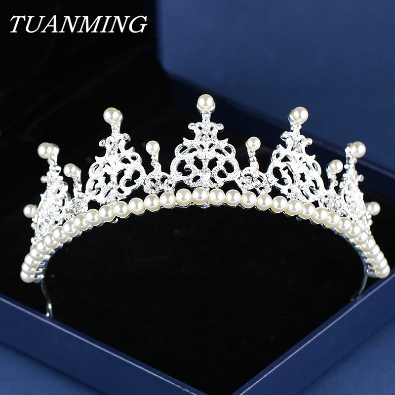 Pearl Birthday Crown For Child Rhinestone Tiaras Crown Princess Birthday Gift Headdress Party Girls Kids Crown Head Jewelry Hair Jewelry Aliexpress