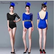 Latin Dance dress Womens Adult New Performance Lace Half-Sleeve Skirt Practice Skirt latin dance dress Dance ballroom clothes