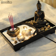 NOOLIM Resin Buddha Statue Zen Meditation Peaceful Relax Decor Set Spiritual Zen Garden Sand Tray Kit Buddha Incense Burner(China)
