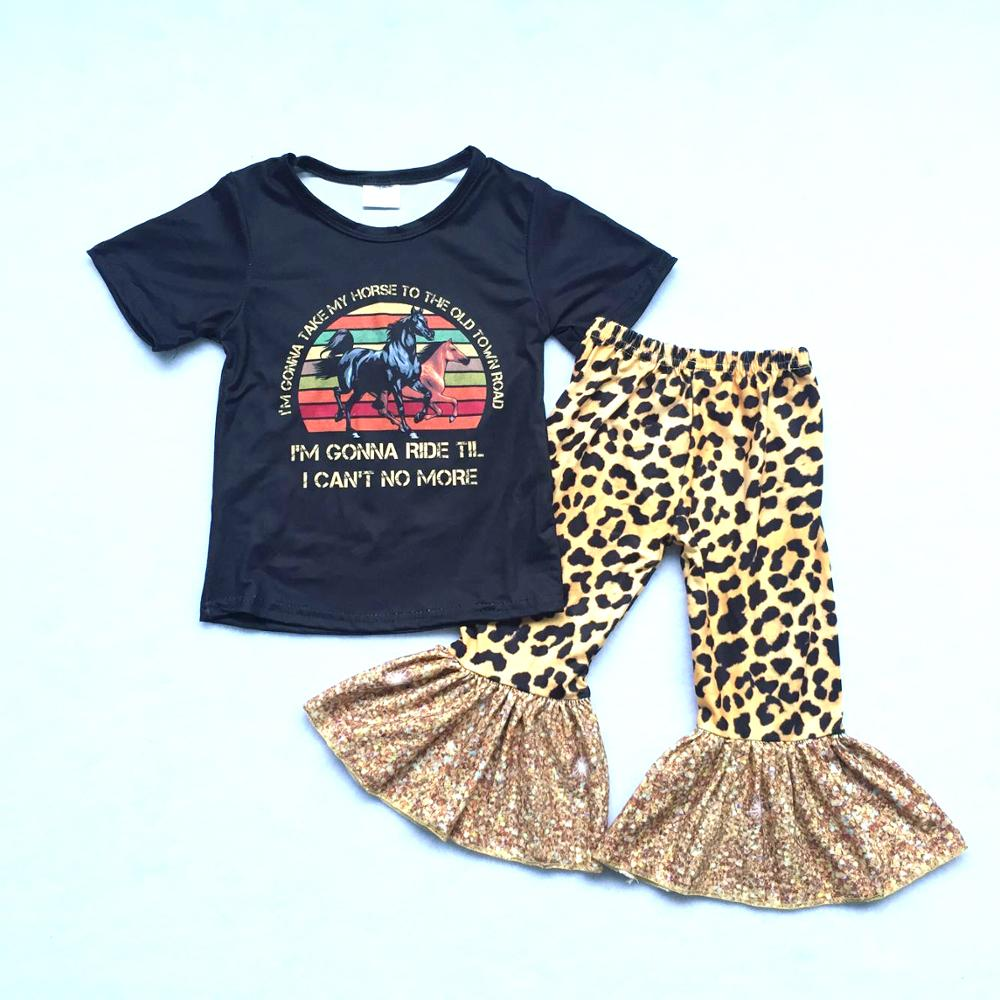 Girl Outfit Fashion Pants Bell Print for Top Old-Town-Road Vintage-Style
